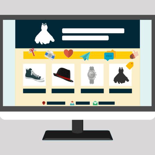 ilustracion con pantalla mostrando un ecommerce