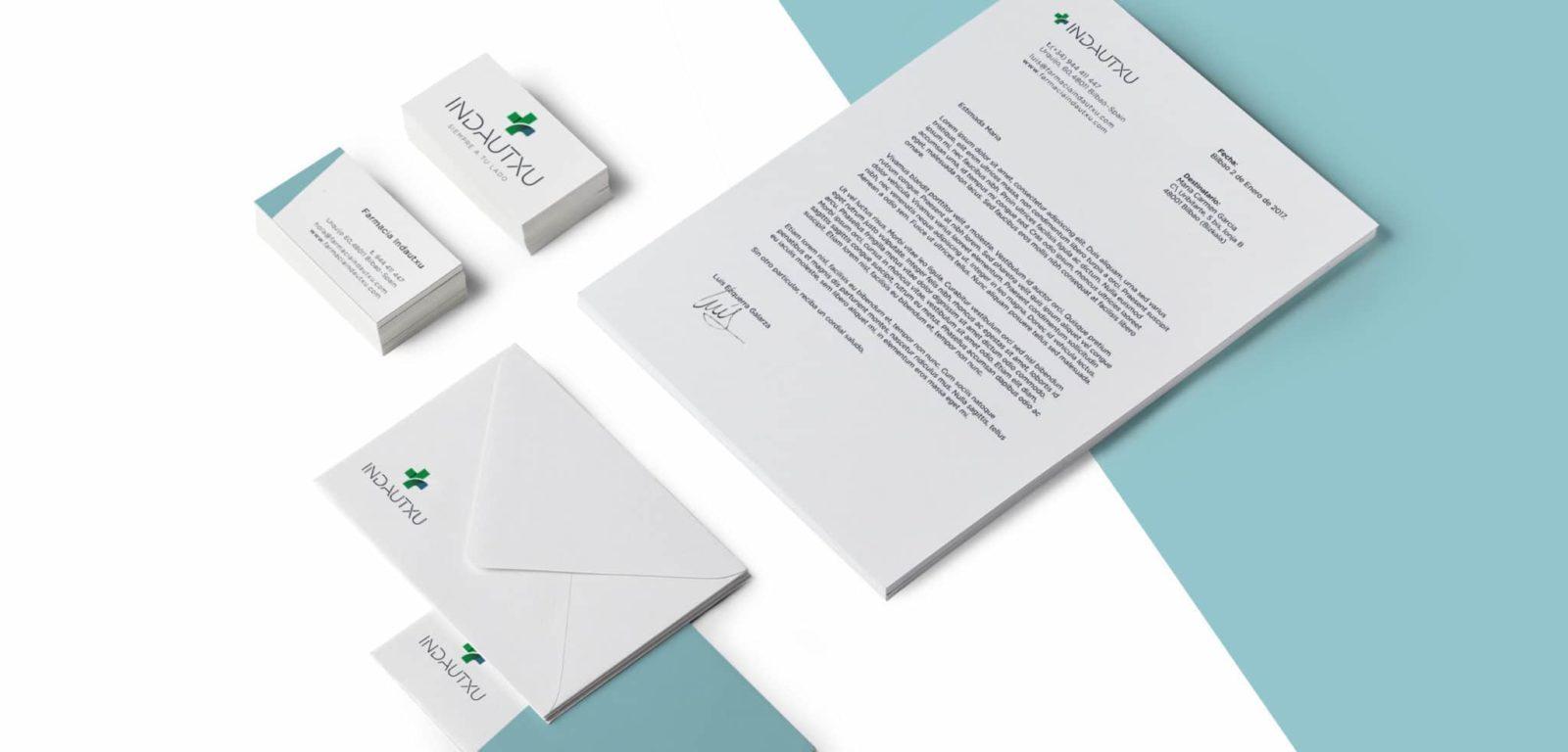Diseño de papelería de Farmacia Indautxu